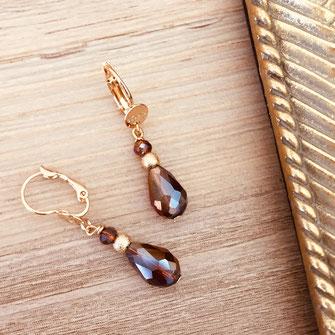 bijoux boucles d'oreilles doré gwapita  bordeaux rouge marsala gouttes perles