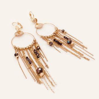 gwapita Gisèle noir chaines longues boucles d'oreilles earrings creation