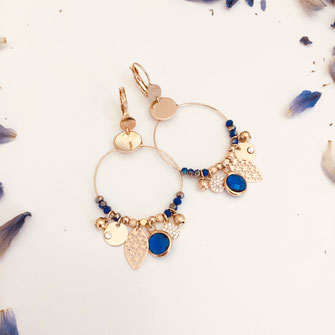 Boucles d'oreilles gwapita creation doré creoles new PERLES charms pampilles bleu indigo