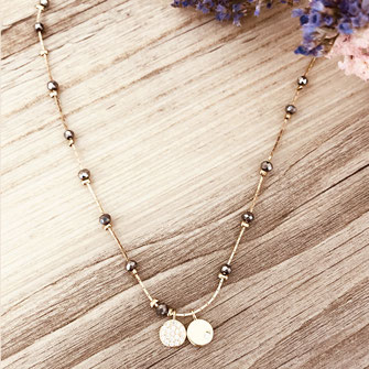 gwapita bijoux collier doré or plaqué nexclace choker perles gris
