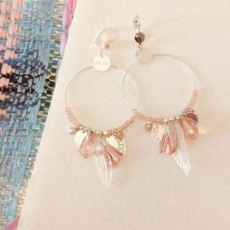 boucles d'oreilles gwapita biboucles d'oreilles gwapita bijoux essentielles ronde breloques pompon plume  argent argentéjoux longues argent argenté