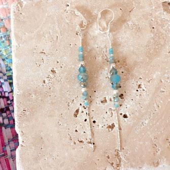 boucles d'oreilles gwapita bijoux longues argent argenté bleu
