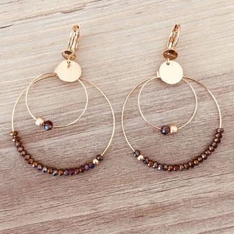 boucles d'oreilles Olivia  créoles anneaux deux doubles doré perles gwapita bordeaux