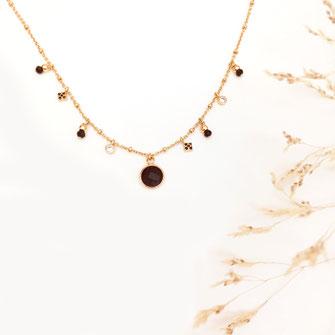 collier pampilles noires pierre gwapita