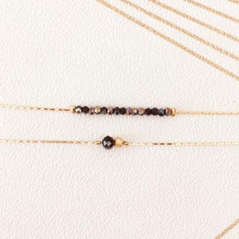 bracelet noir perles gwapita doré plaqué or fin createur france français