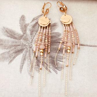 boucles d'oreilles gwapita belle grosse longues createur créatrice perles doré plaqué or bijoux earrings nude longues perles chaines rose poudré