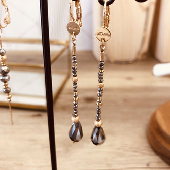 boucles d'oreilles earring gwapita bijoux français france createur fin doré plaqué or perles gris