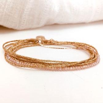 bracelet leo leo gwapita multirangs rubans drivs et perles rose