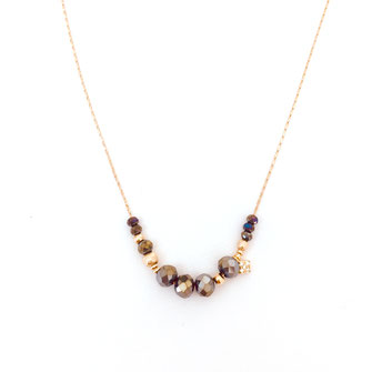 collier Gwapita Marius metalic fin perles doré metalic