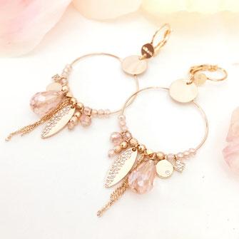 gwapita boucles d'oreilles bijoux création doré  valentina breloques charms perles rose