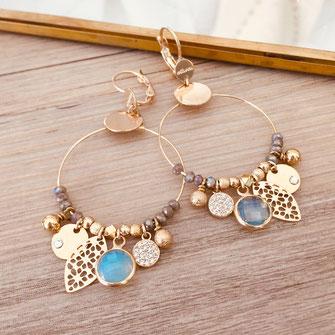 boucles d'oreilles noire gwapita belle grosse creole ronde breloque papille perles doré plaqué or bijoux earrings gris Sasha