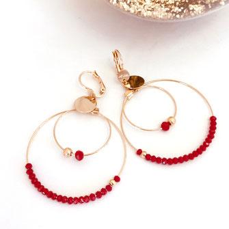 gwapita olivia creole double doré perles femme fine essentielle iconiques  rouge red