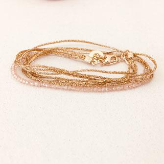 bracelet gwapita fin bijoux France creation finesse perles doré plaqué or ruban dorés rose