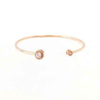 jonc bracelet gwapita fin doré vintage zirconium pierre blanche jewelry jonc