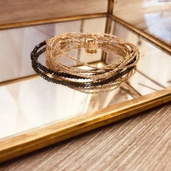 bracelet gwapita bijoux français france createur fin doré plaqué or perles  noir