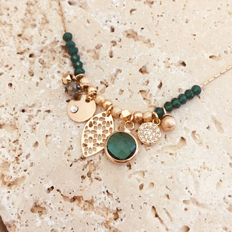 gwapita bijoux collier anna vert tropique fin doré