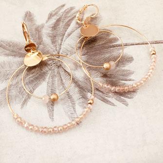 boucles d'oreilles Olivia rose poudré creoles anneaux deux doubles doré perles gwapita