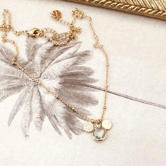 collier choker necklace gwapita bijoux français france createur fin doré plaqué or pierre serti