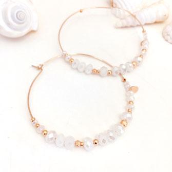 gwapita bijoux boucles d'oreilles romy maxi perles creoles créole blanc