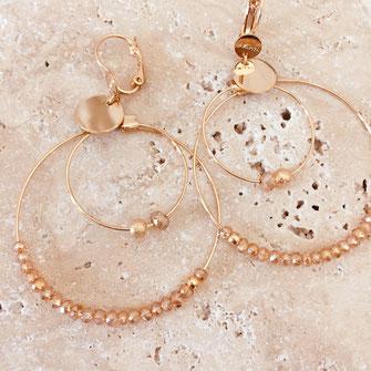 boucles d'oreilles gwapita Olivia champagne nude doré double anneaux fin perles