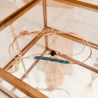 bracelet gwapita vert Anais Anaïs fin finesse doré or