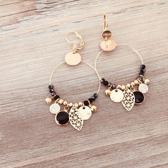 boucles d'oreilles noire gwapita belle grosse creole ronde breloque papille perles doré plaqué or bijoux earrings