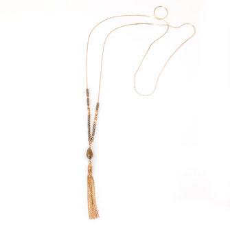 sautoir collier long gwapita Augustine pompon doré perles