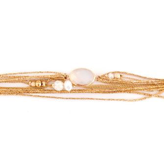 bracelet gwapita fin bijoux France creation finesse perles doré plaqué or  Jules mukltira,gs rubans cordons pierre ovale blanc opal