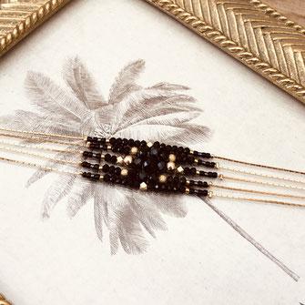gwapita bracelet diva perles noir fin raffiné doré plaqué or créatrice