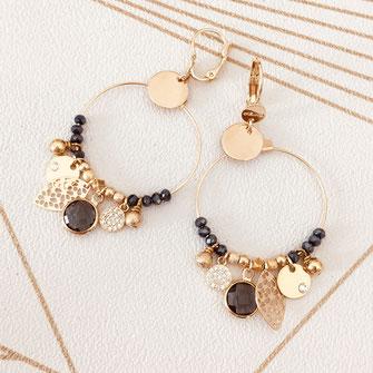 boucles d'oreilles gwapita petit Katia blanc zirconium pierres blanche bijoux or plaqué doré breloques