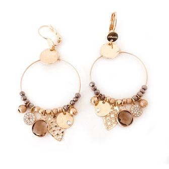 boucles d'oreilles noire gwapita belle grosse creole ronde breloque papille perles doré plaqué or bijoux earrings gris