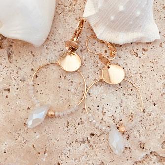 bo boucles d'oreilles gwapita wapita new collection creation bijoux mathilde perle d'eau douce jewels jewelry earrings gold plated plaqué or doré France miranda blanc goutte
