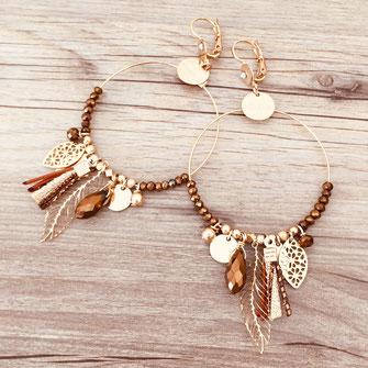 boucles d'oreilles earring gwapita bijoux français france createur fin doré plaqué or perles gypsy marron