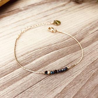 bracelet doré plaqué or fin Gwapita bijoux créatrice française france noir
