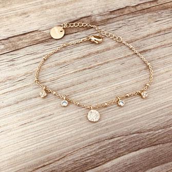 bracelet axel gwapita bijoux fin pampilles zirconia zircons doré or