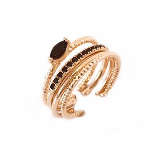 bagues gwapita olivia anneaux noir plaqué or doré