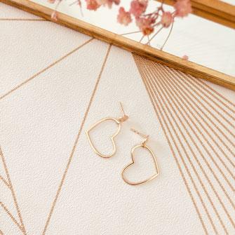 bijoux boucles d'oreilles anneaux créoles plaqué or doré gwapita  coeur