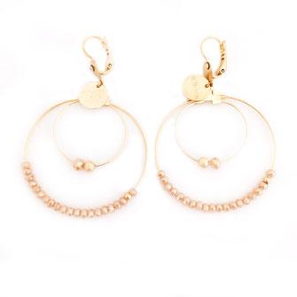 boucles d'oreilles Olivia  créoles anneaux deux doubles doré perles gwapita nude beige