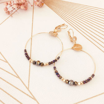 Chloé gwapita boucles d'oreilles earrings earring violet métallisé ronde creoles perle