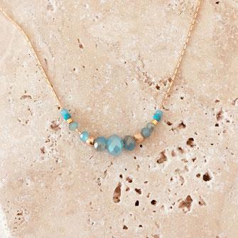 collier choker necklace gwapita bijoux français france createur fin doré plaqué or bleu turquoise caraïbe  perles