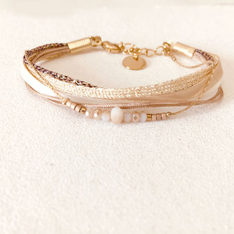 bracelet gwapita fin bijoux France creation finesse perles doré plaqué or  fynn cappuccino beige nude blanc