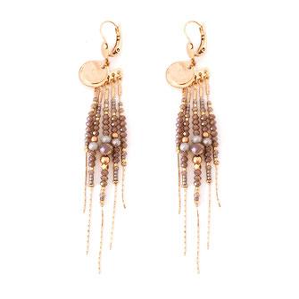 boucles d'oreilles gwapita belle grosse longues createur créatrice perles doré plaqué or bijoux earrings nude longues perles chaines gris doux