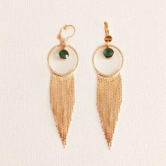 bijoux capita boucles d'oreilles créoles créoles rouge bordeaux perles doré plaqué or ronde grosse longue chaines vert fine