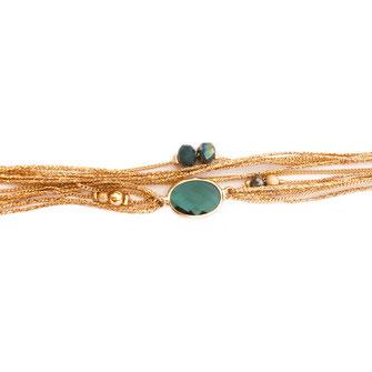 bracelet vert tropique jules gwapita ruban doré pierre ovale verte perles