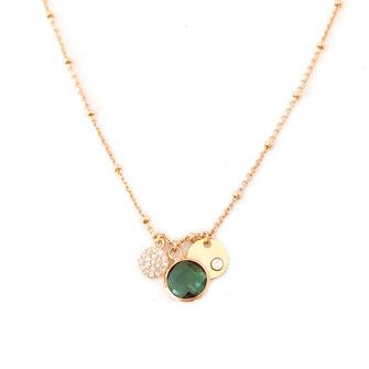 collier choker necklace gwapita bijoux français france createur fin doré plaqué or vert