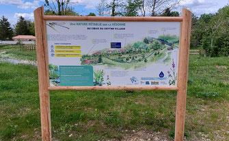 panneau pédagogique, interprétation, réaménagement de ruisseaux, restauration cours d'eau, biodiversité, nature, illustrations