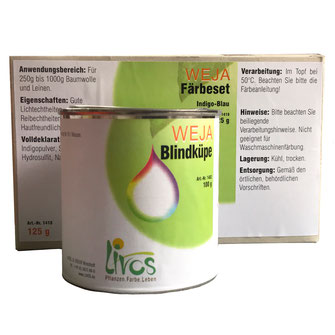Indigo  Farbe mit Blindküppe, Baumwolle färben