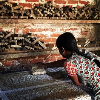 Mud resist Indigo  Block Print Workshop Bagru