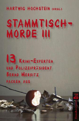 Buchcover der Kriminalanthologie Stammtischmorde 3 mit einem angebissenen Apfel als Motiv