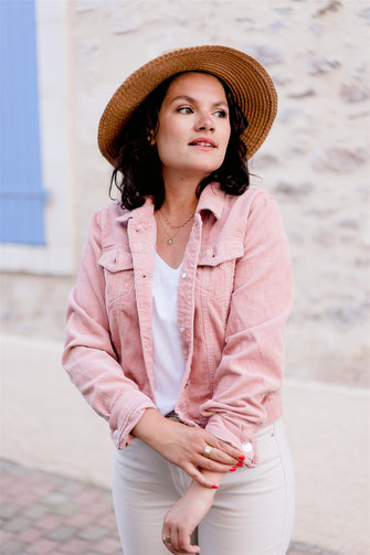 Veste en velours rose